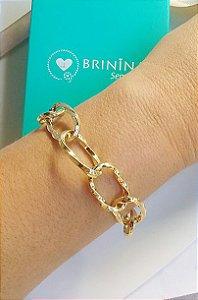 Pulseira elos correntes fashion banhada em ouro 18k