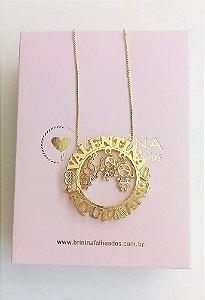 Colar mandala dupla personalizada com pingentes banhada em ouro 18k (pz entrega 45 dias)