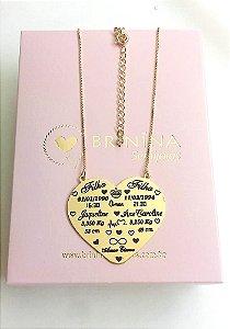 Mandala maternidade coração banhada em ouro 18k (enviar dados por por email)