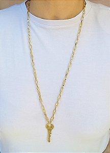 Colar elos pingente chave Be Brave fashion banhada em ouro 18k