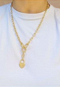 Colar elos mini gravata pingente coração forever banhada em ouro 18k