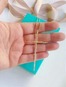 Colar cruz palito banhada em ouro 18k