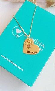 Colar coração com pingente personalizado banhado em ouro 18k  (pz entrega 45 dias)