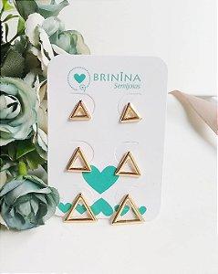Trio de brincos triângulos vazados banhados em ouro 18k
