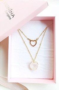 Colar de coração duplo com dois corações Caroline banhado em ouro 18k