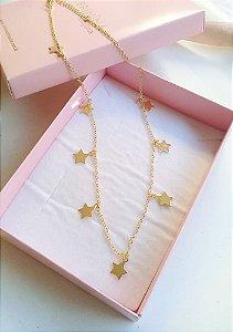 Choker pingentes estrelas lisa banhada em ouro 18k