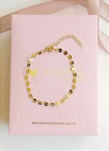 Pulseira mini medalhinhas chapadas banhada a ouro 18k