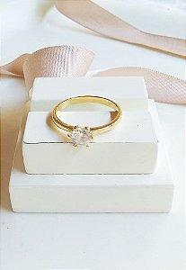Anel solitário cristal banhado em ouro 18k