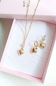 Conjunto berloque coração com brincos banhado em ouro 18k