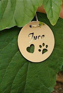 Colar redondo Pet personalizado banhado em ouro 18k (pz 45 dias)