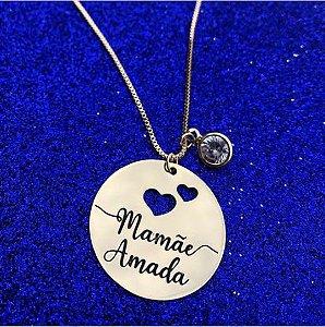Colar redondo Mamãe Amada personalizado com ponto de luz banhado em ouro 18k (pz 45 dias)