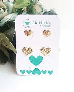 Kit de brincos coração frisado e liso e coração relevos banhados em ouro 18k