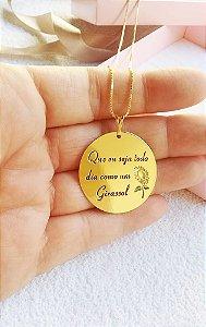 Colar personalizado Girassol banhado em ouro 18k