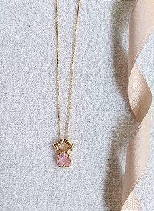 Colar coração rosa cristal com pingente 1 menina  banhado a ouro 18k