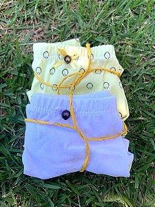 Calcinhas Boxer kit duas peças - branca e amarela