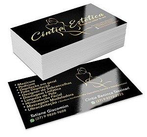 500 Cartões de Visita - Verniz Total Brilho F/V