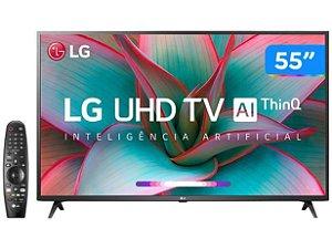 "Smart TV LED 55"" UHD 4K LG 55UN7310 Bluetooth, Wi-Fi, HDR, Inteligência Artificial ThinQ AI, Controle Smart Magic, Google Assistente, Alexa"
