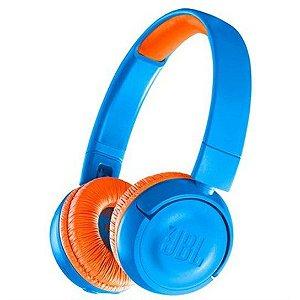 Fone de Ouvido Infantil Sem Fio JBL Azul e Laranja - JBLJR300BTUNO