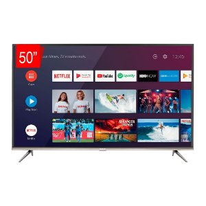 Smart TV LED 50 SEMP SK8300 Ultra HD 4K HDR com Wifi integrado, Android, 3 HDMI, 2 USB, Controle remoto com comando de voz e Google Assistant