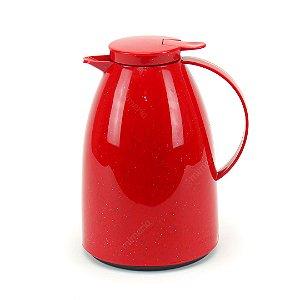 Garrafa Térmica Bule Viena com Gatilho 1 Litro Cerâmica Vermelha