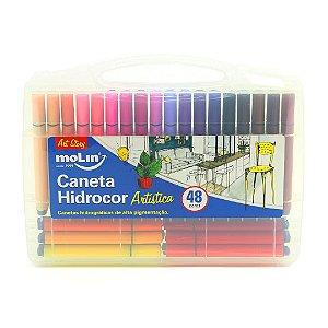 Kit Maleta Canetas Hidrocor Artísticas de Alta Pigmentação com 48 Unidades