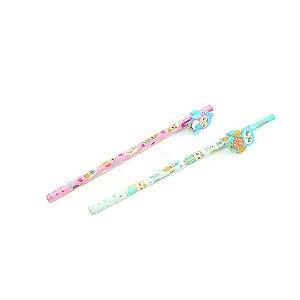 Kit Lápis Preto HB Rosa e Azul Topo Corujinhas com 2 Unidades