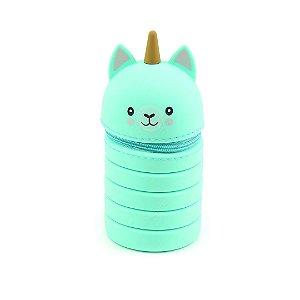 Estojo de Silicone Retrátil Animal Planet Cat Unicórnio Verde