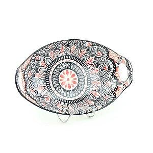 Travessa de Cerâmica Estampada Mandala Rosa e Preta