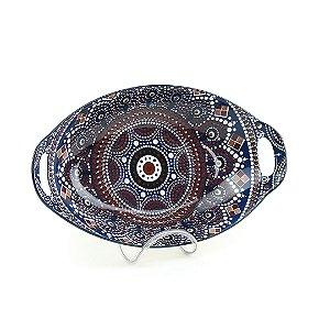 Travessa de Cerâmica Estampada Mandala Azul Escuro e Marrom