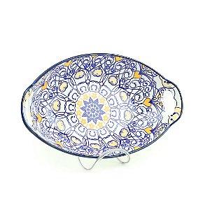 Travessa de Cerâmica Estampada Mandala Azul Escuro e Laranja