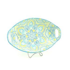 Travessa de Cerâmica Estampada Mandala Azul Claro e Amarela