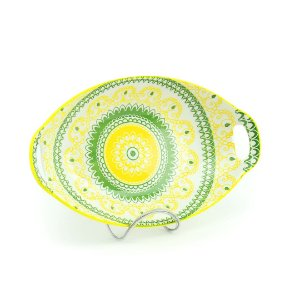 Travessa de Cerâmica Estampada Mandala Amarela e Verde