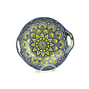 Tigela de Cerâmica Redonda com Alça Estampada Mandala Azul e Amarelo