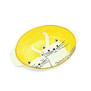 Tigela de Cerâmica Oval com Alça Estampada Gatos Amarela Grande