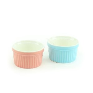 Conjunto de Ramequim de Cerâmica Mini Azul e Rosa 2 Peças