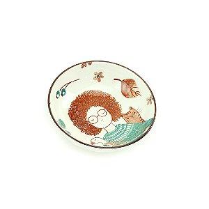 Mini Bowl de Cerâmica Estampado a Menina, o Ganso e o Gato