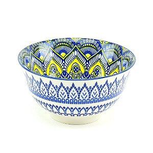 Bowl de Cerâmica Estampado Mandala Azul e Amarelo Grande