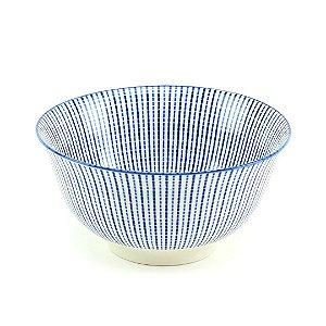 Bowl de Cerâmica Estampado Linhas Azul Grande