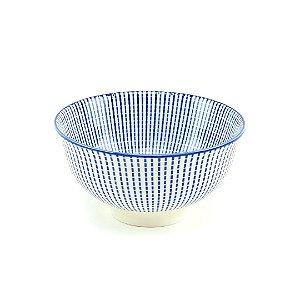 Bowl de Cerâmica Estampado Linhas Azul Pequeno