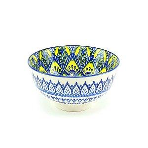 Bowl de Cerâmica Estampado Mandala Azul e Amarelo Pequeno