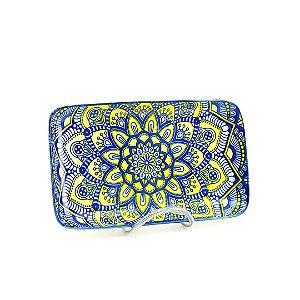 Bandeja de Cerâmica Retangular Estampada Mandala Azul e Amarelo