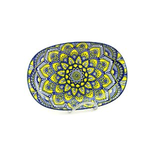 Bandeja de Cerâmica Oval Estampada Mandala Azul e Amarela