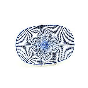 Bandeja de Cerâmica Oval Estampada Linhas