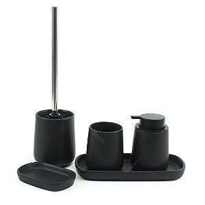 Kit para Banheiro com 5 Peças Preto Fosco