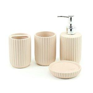 Kit Banheiro com 4 Peças Canelado Rosa