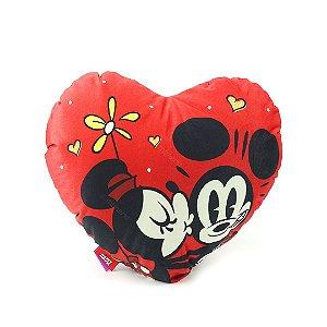 Almofada Coração Mickey e Minnie Fibra