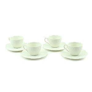 Conjunto de 4 Xicaras para Chá em Porcelana Butterfly Branco