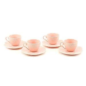 Conjunto de 4 Xicaras para Café em Porcelana Butterfly Rosa