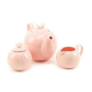 Conjunto de 3 Peças em Porcelana para Chá Butterfly Rosa
