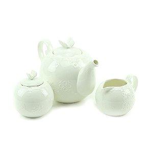 Conjunto de 3 Peças em Porcelana para Chá Butterfly Branco